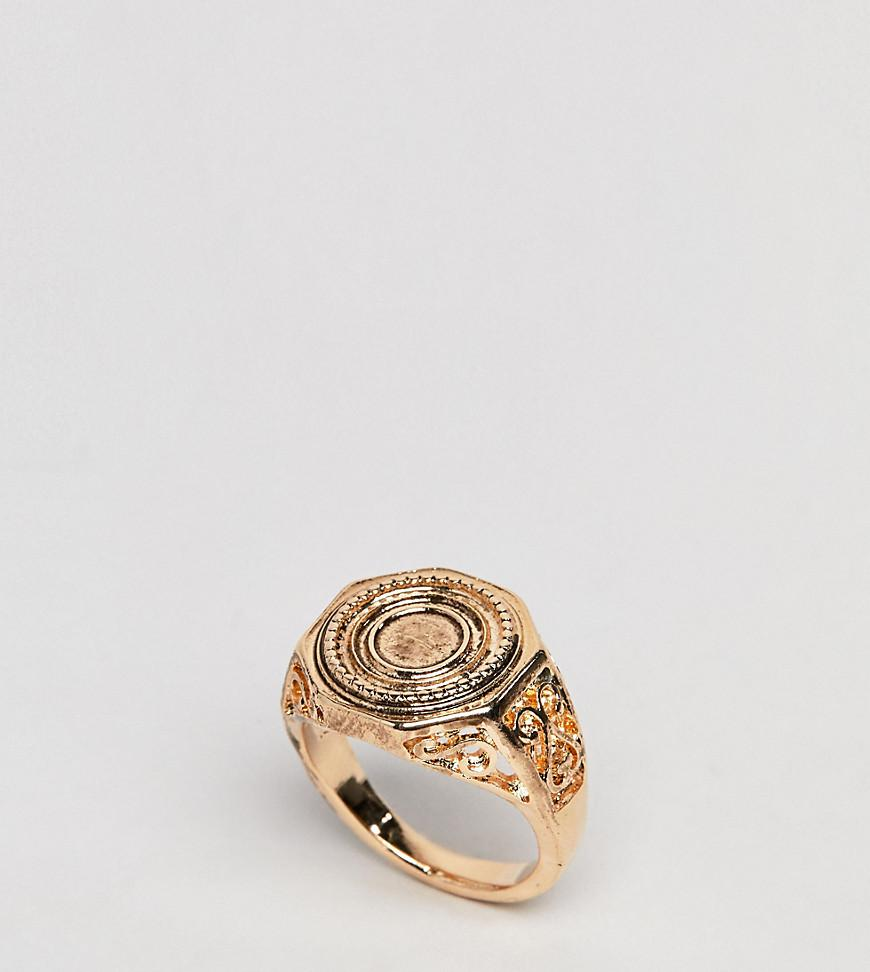 DESIGN Statement Dome Jewel Ring - Gold Asos LHkPNMR