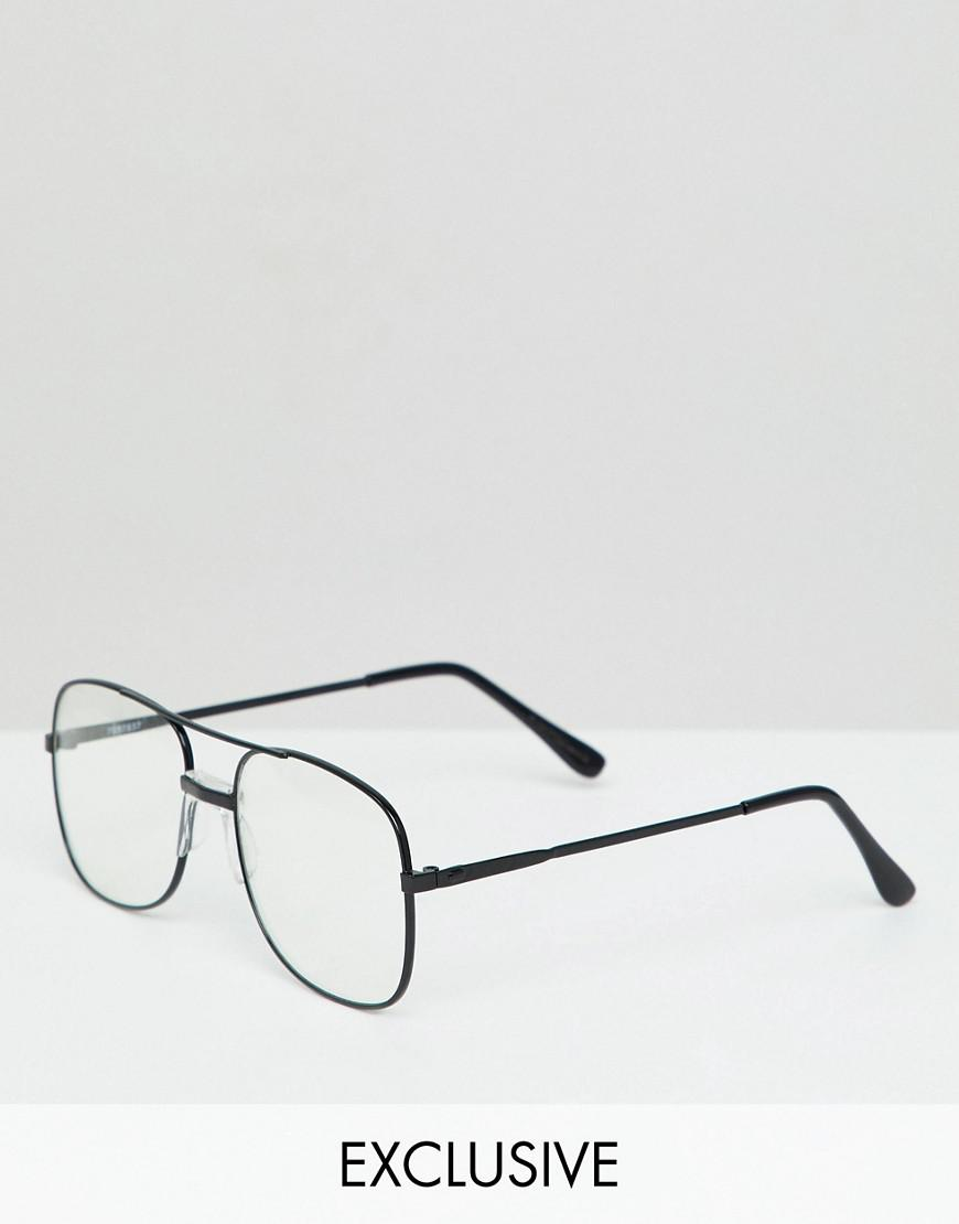 7a660bb90b308 Reclaimed (vintage) Inspired Aviator Clear Lens Glasses In Black in ...