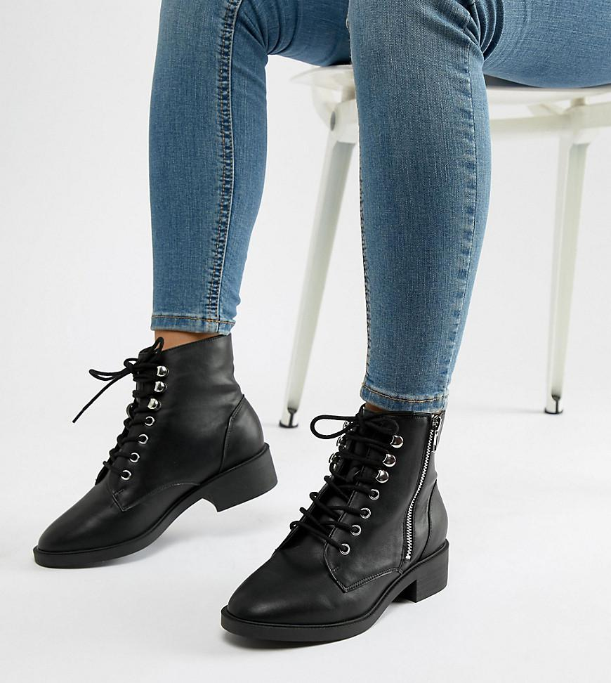 0f97a8aa1a3 Lyst - New Look Lace Up Flat Ankle Boot in Black