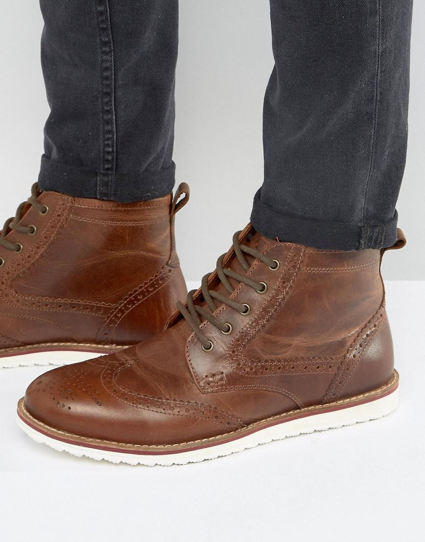 red tape brogue boots in tan in brown for men lyst