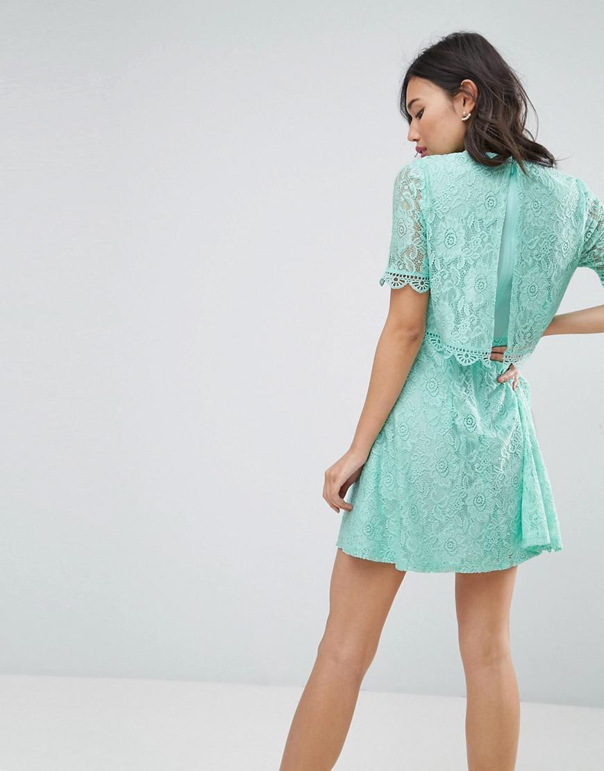83e7c9605 ASOS Mini Skater Dress In Lace With Crop Top Layer in Green - Lyst