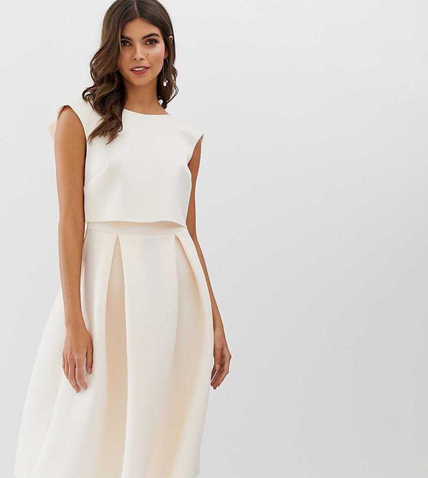 4c0bce1b0322a ASOS - Pink Fold Back Crop Top Midi Prom Dress - Lyst. View fullscreen