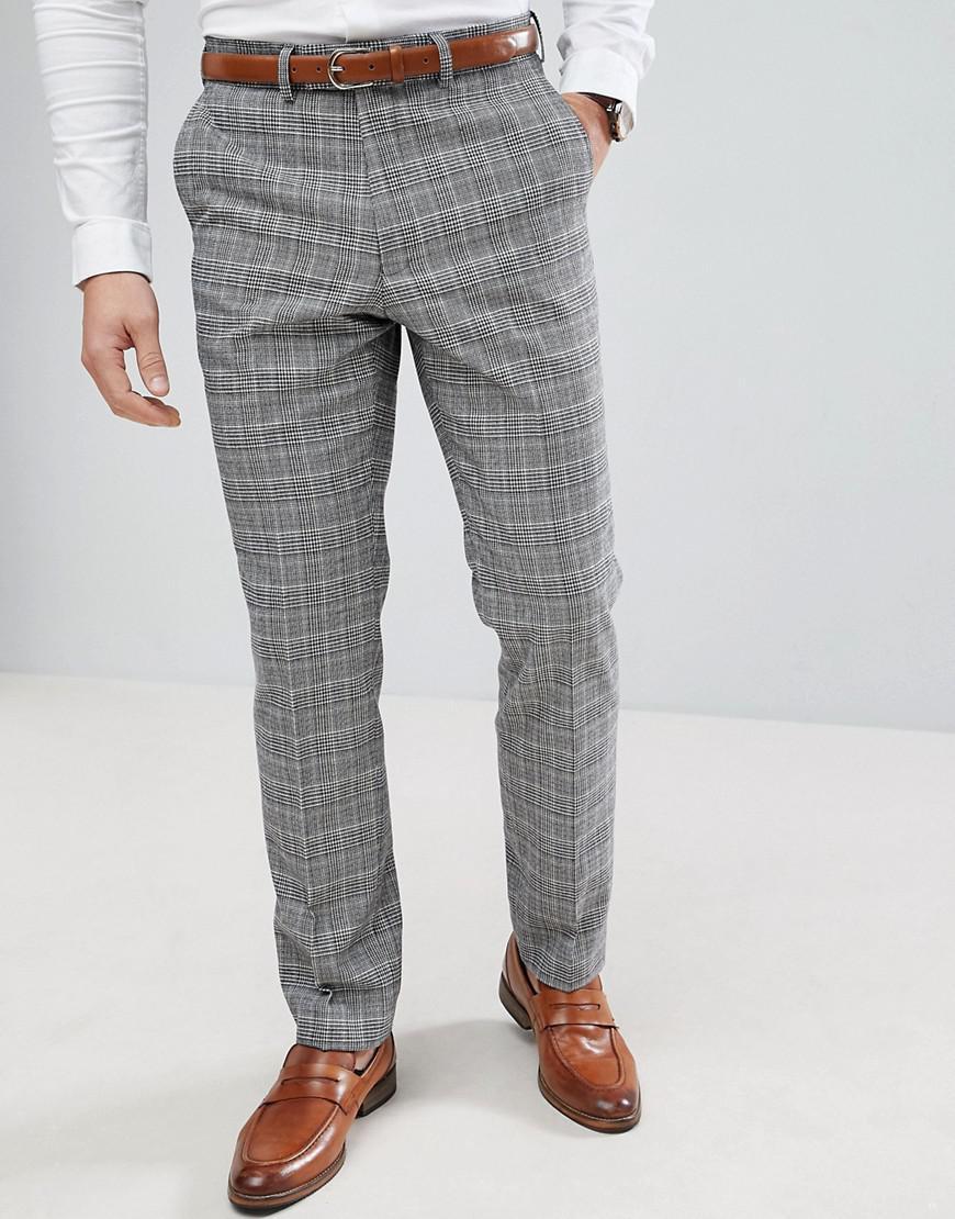 Prince De Galles Contrôle Bleu Mince Pantalon De Costume Ajustement - Connexion Français Gris QR5AGhVzfZ