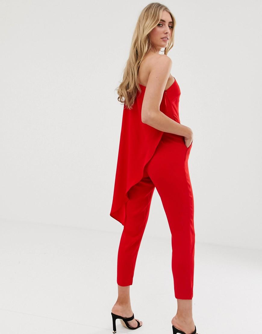 0cbac1b9b8c Lavish Alice One Shoulder Cape Tailored Jumpsuit In Red in Red - Lyst