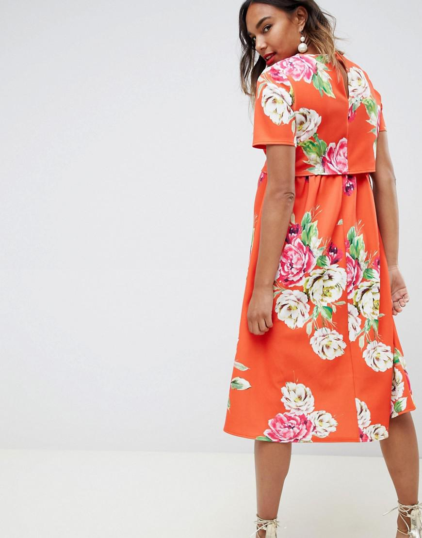 acd4a010a94e6 Lyst - ASOS Asos Design Maternity Double Layer Midi Dress In Floral Print  in Red