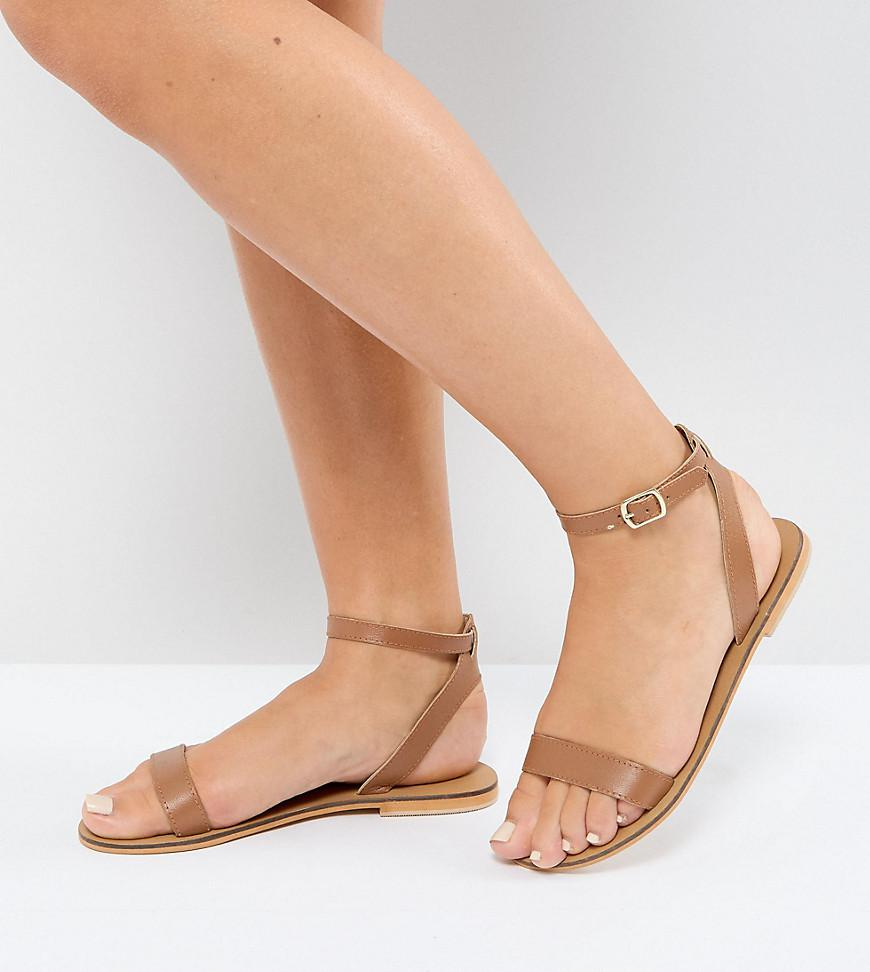 0e090387c69 Lyst - ASOS Asos Felon Wide Fit Leather Flat Sandals in Brown