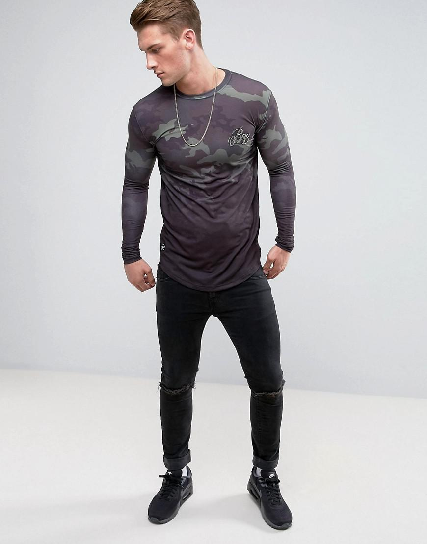 7d5beb90 Bee Inspired Muscle Fit Long Sleeve T-shirt In Camo Fade in Black ...