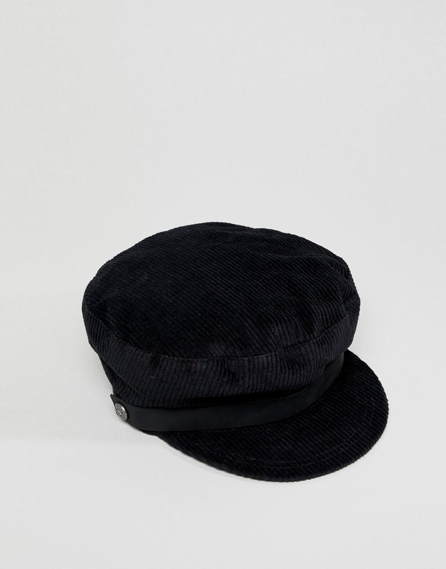 8ad7bc41541 Lyst - Brixton Black Corduroy Baker Boy Hat in Black