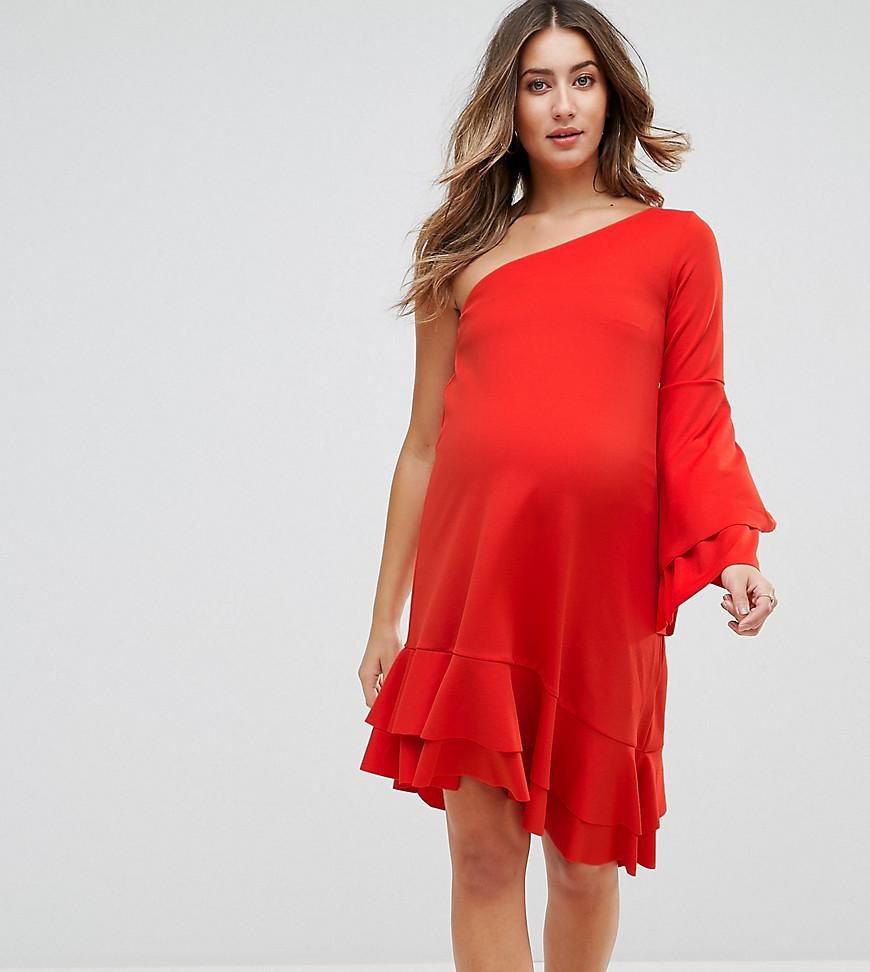 Lyst gebe maternity one shoulder mini dress with frill detail in red gebe maternity womens red one shoulder mini dress ombrellifo Images
