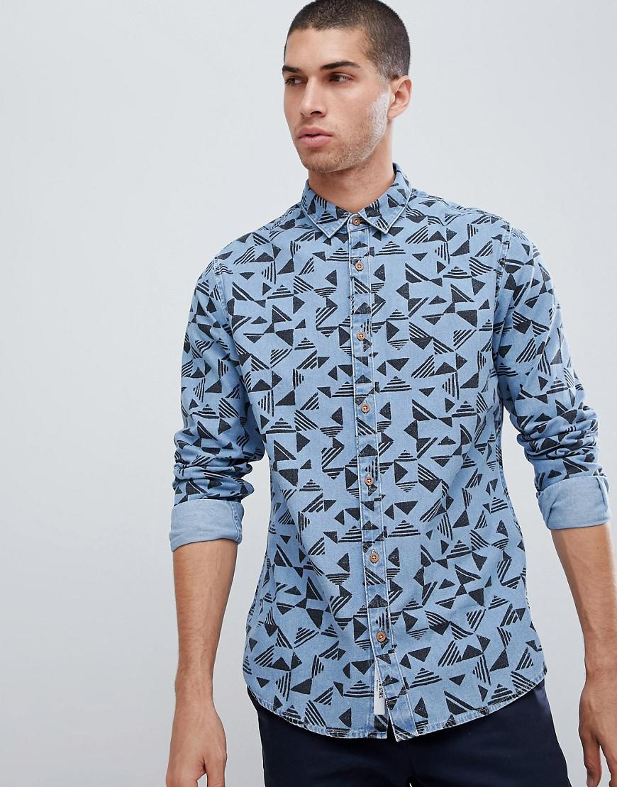 203a6f9bdb Lyst - Only   Sons Slim Fit All Over Print Shirt in Blue for Men