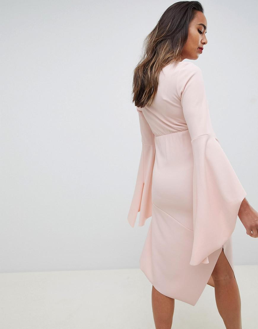 50b148bfb2 Asos design maternity bodycon midi dress with flute sleeve in pink lyst jpg  870x1110 Asos pink