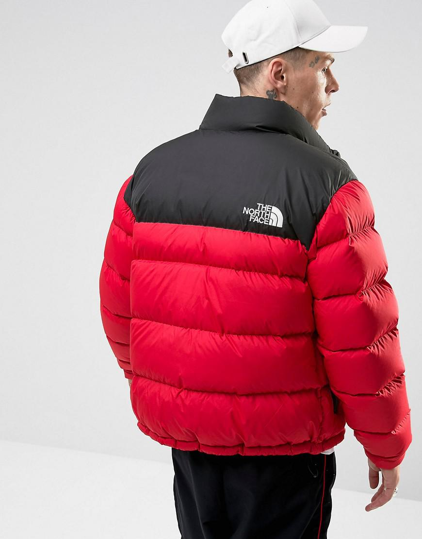 422418596187 ... discount lyst the north face 1992 nuptse down jacket 2 tone in red  black in 521ac
