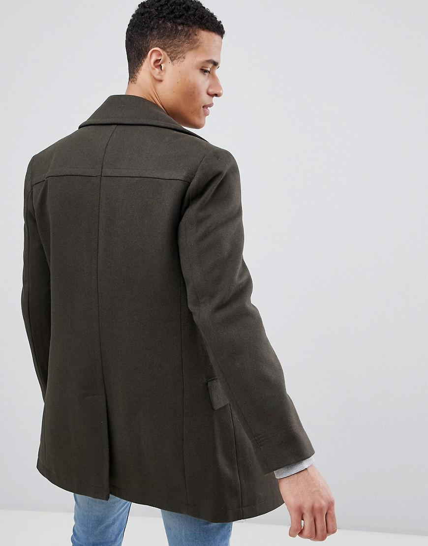 6dbd59c4ed3fc8 French Connection Wool Blend Double Breasted Pea Coat in Green for Men -  Lyst