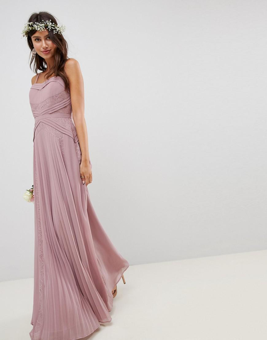 229c01108e81 ASOS Pleated Panelled Cami Maxi Dress With Lace Inserts in Pink - Lyst