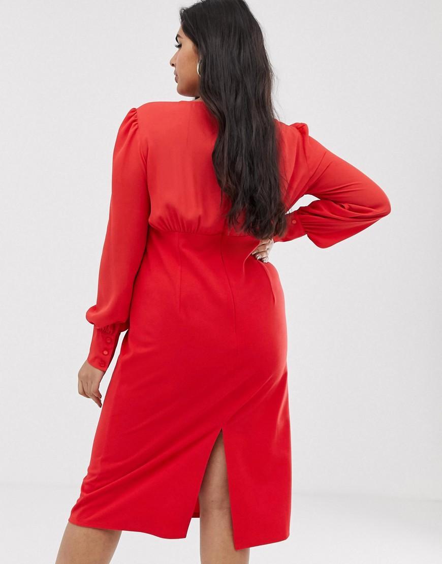 ac38f81e4fce ASOS Asos Design Curve Woven Mix Midi Pencil Dress in Red - Lyst