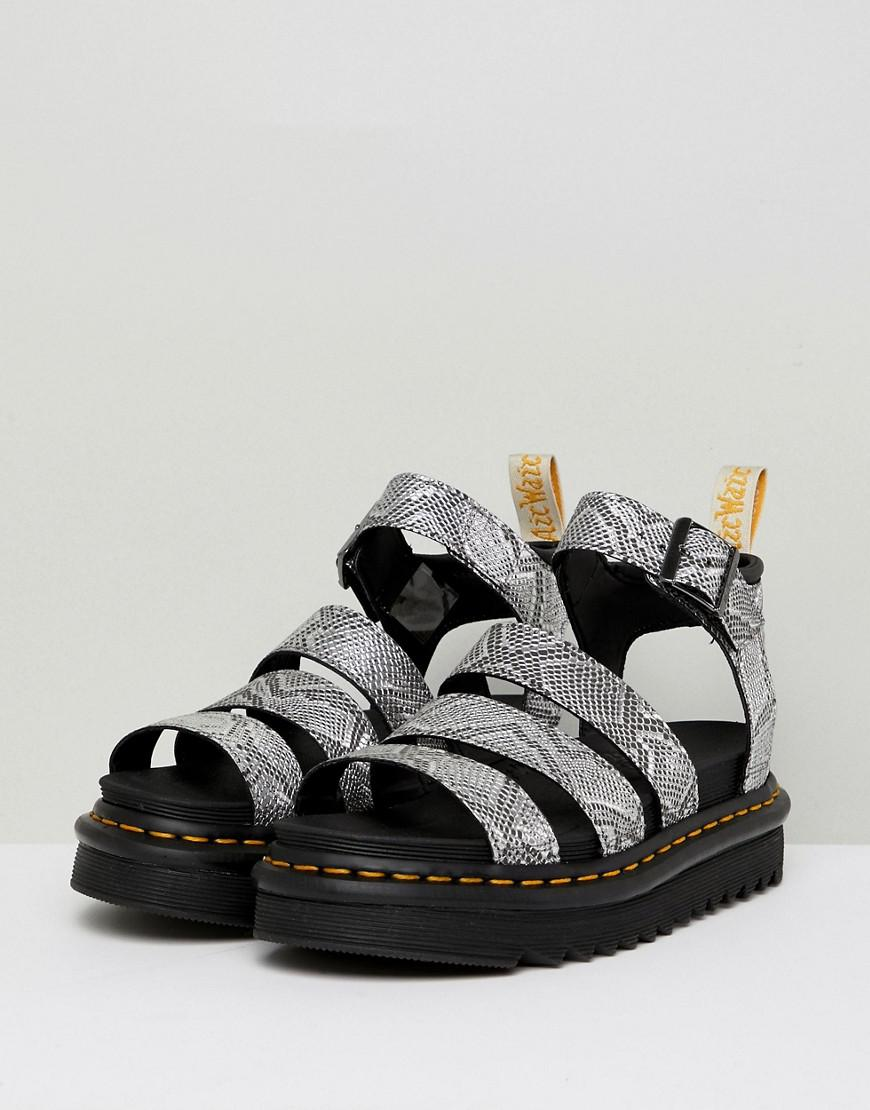 aad7bfd1ffc0e Dr. Martens Blaire Strappy Flat Sandals In Silver in Metallic - Lyst