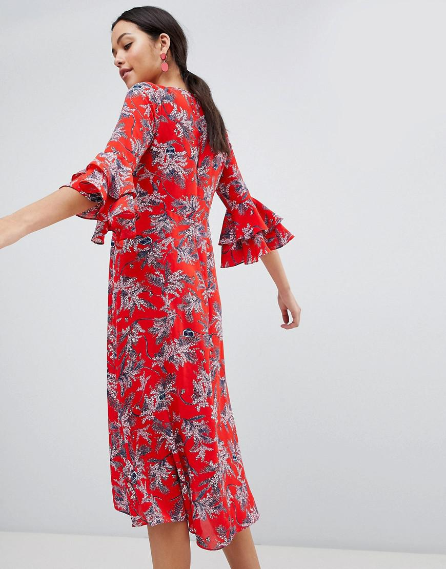 Floral Print Midi Dress With Flute Sleeve - Red Traffic People Discount Buy Cheap Pay With Paypal Ebay Cheap Online Buy Cheap Cheap Sale Extremely 7zVHcTvef