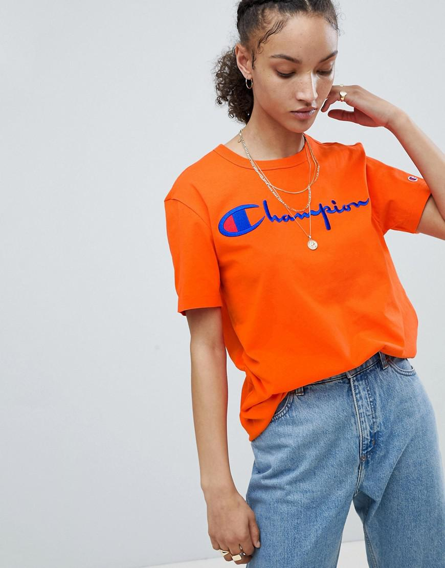 daee4987 Champion Crewneck T-shirt With Script Logo in Orange - Lyst