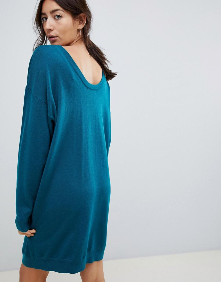 f4137bbf663 ASOS Asos Design Maternity Jumper Dress With Scoop Back In Eco Yarn in  Green - Lyst