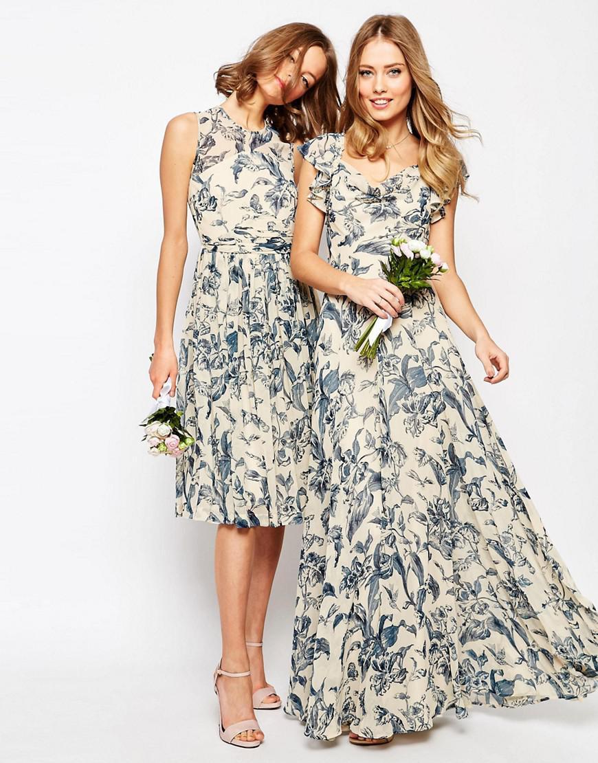 200e4c96bce Lyst - ASOS Wedding Frill Shoulder Detail Maxi Dress In Print in White