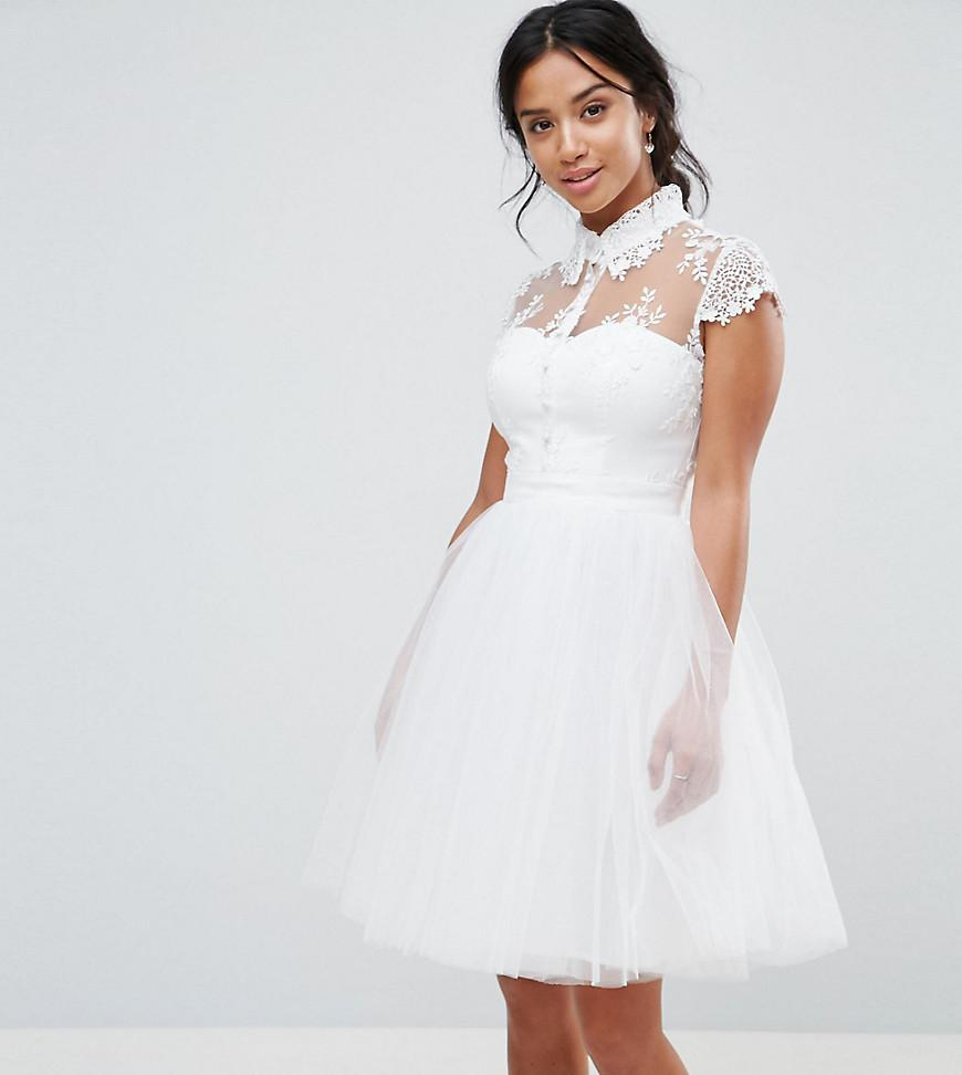 768f315c9e19 Chi Chi London Mini Tulle Skater Dress With Lace Collar in White - Lyst