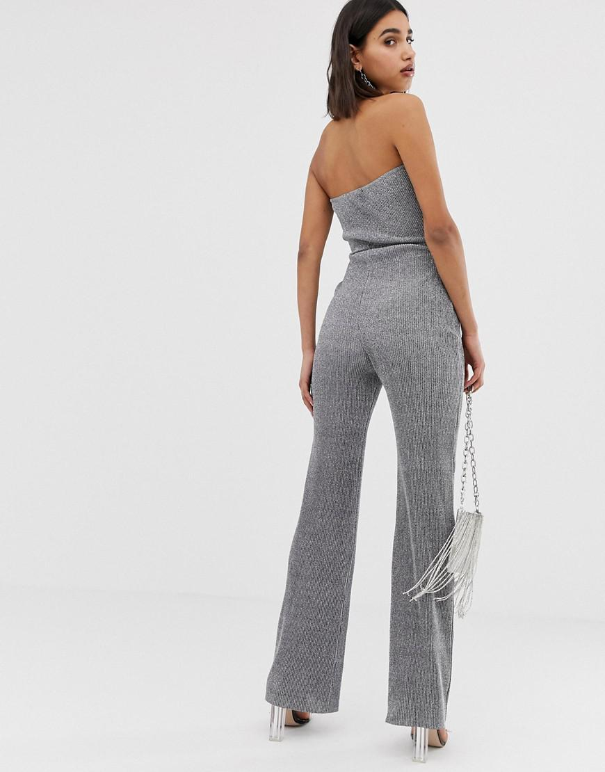 d0a37b1d80be PrettyLittleThing Glitter Bandeau Wide Leg Jumpsuit With Tie Waist In  Silver in Metallic - Lyst