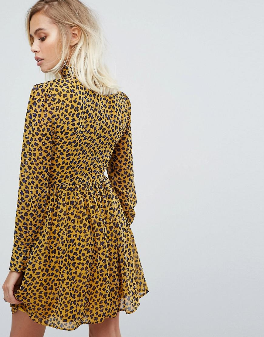 Lyst Fashion Union High Neck Skater Dress In Leopard