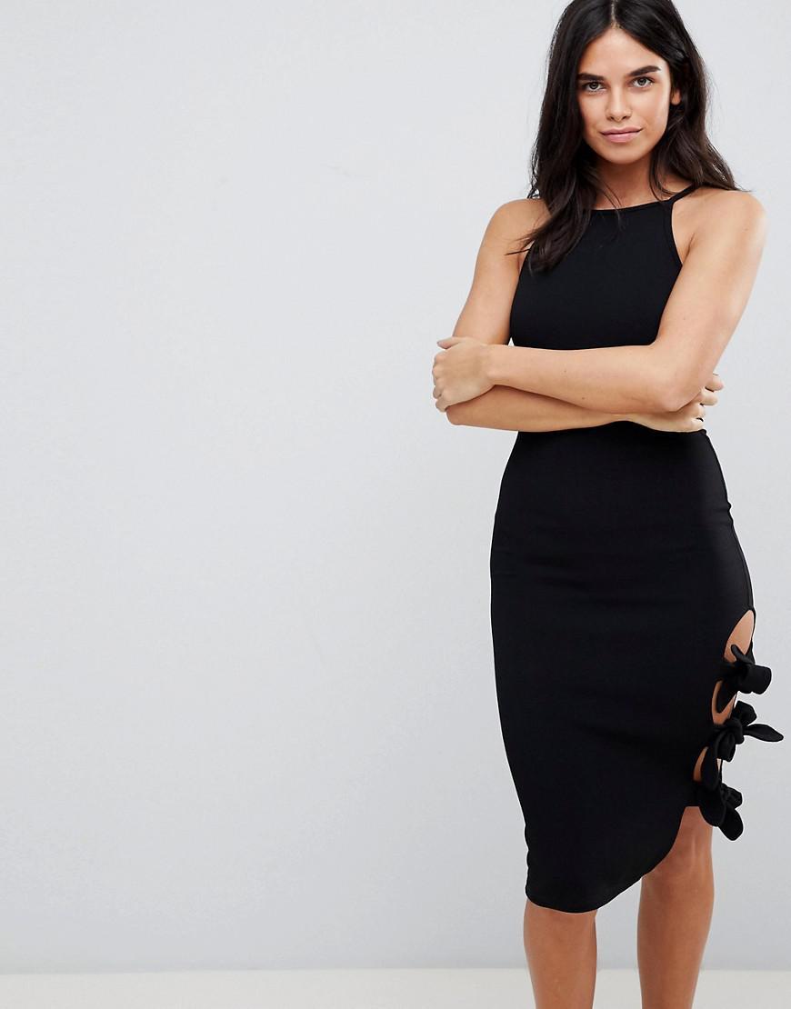 Cold Shoulder Long Sleeve Bodycon Dress - Stone AX PARIS JMaSblrzQ6