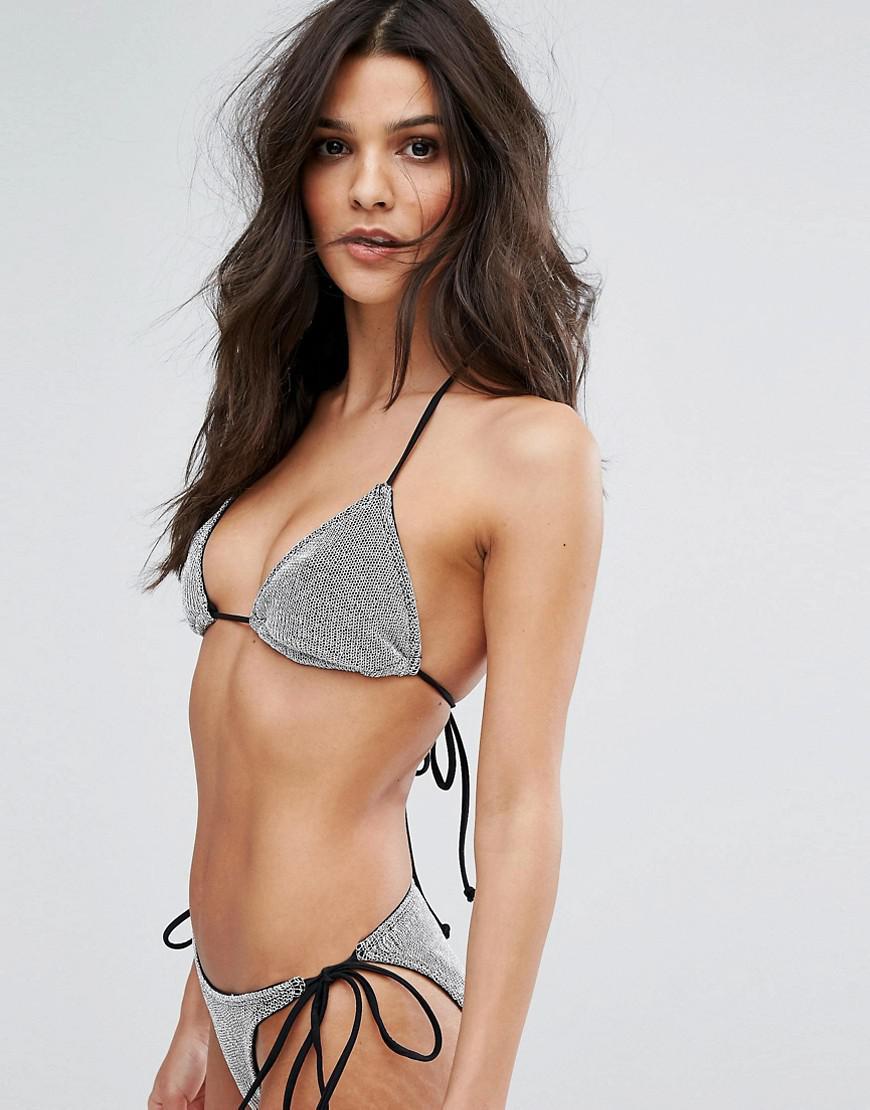 31e3bd91a9 ASOS Chain Mail Effect Triangle Bikini Top in Metallic - Lyst