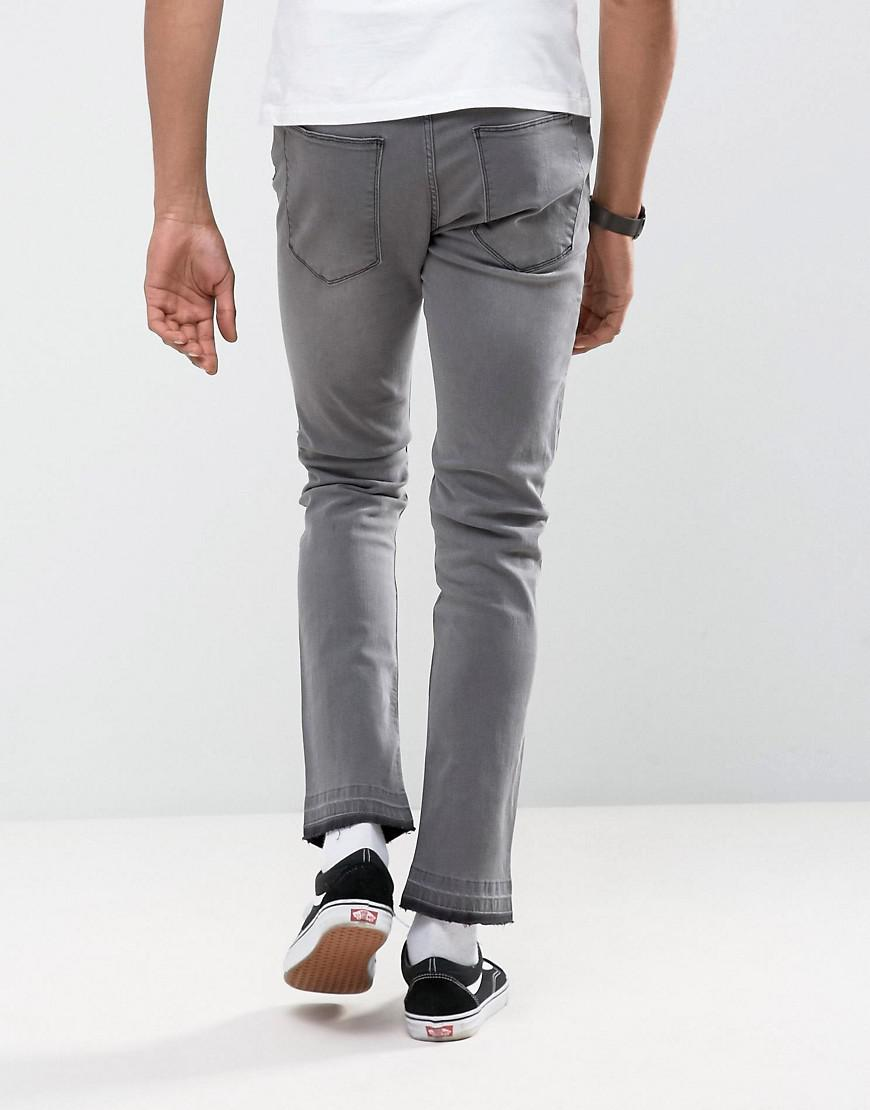 Ripped Skinny Jeans with Unrolled Hem - Grey Antioch je8304iDvJ