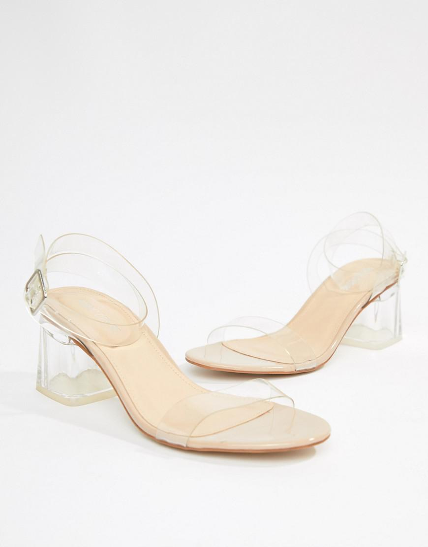 34b2f7536b9 Lyst - Public Desire Afternoon Mid Clear Heeled Sandals in Natural