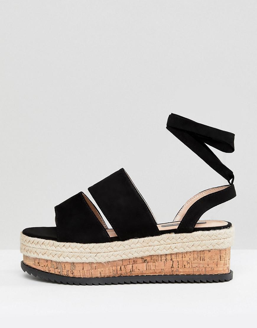 8170159404e Lyst - Lost Ink Black Ankle Tie Flatform Sandals in Black