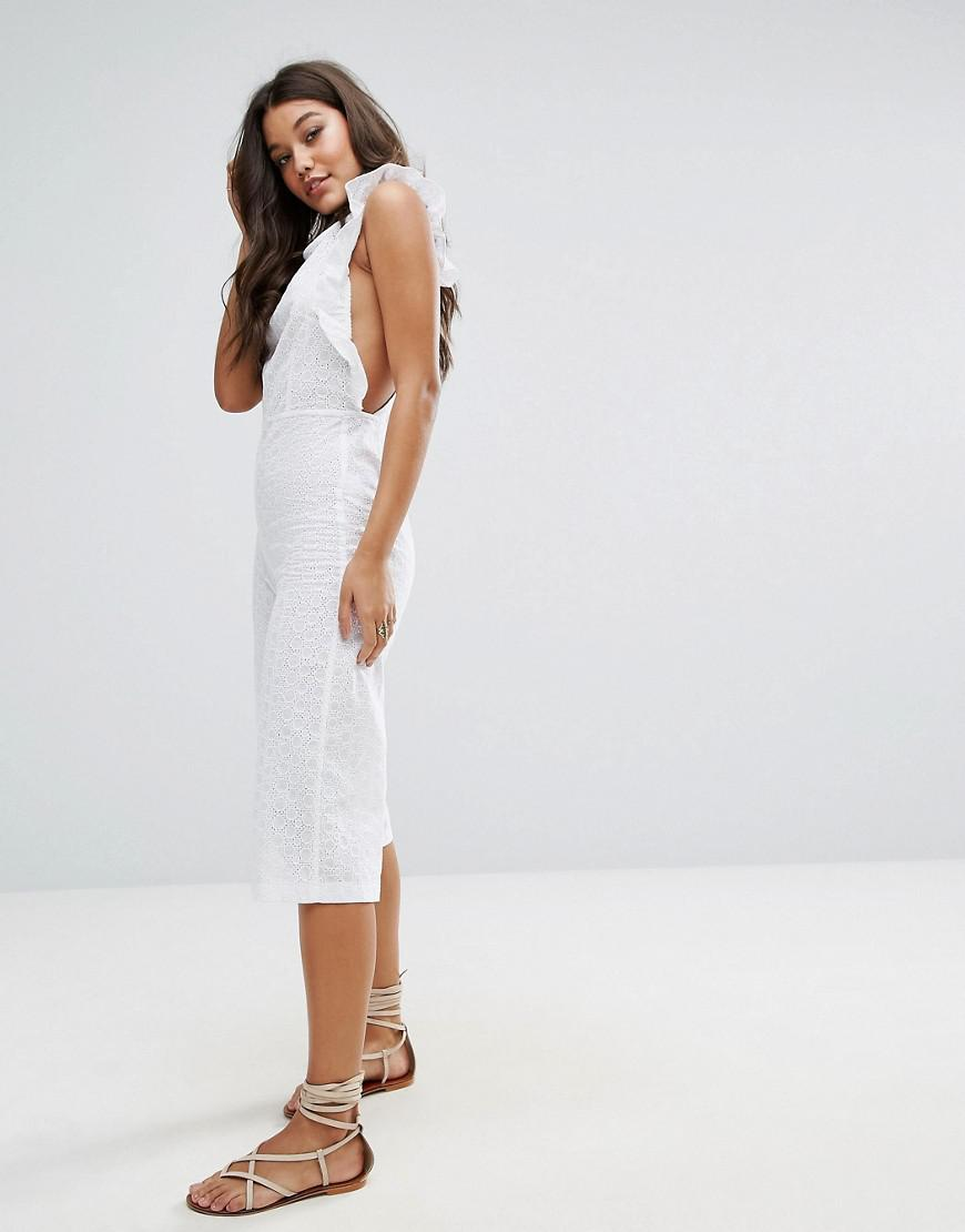 534d22a87277 Lyst - Missguided Broderie Frill Detail Culotte Jumpsuit in White