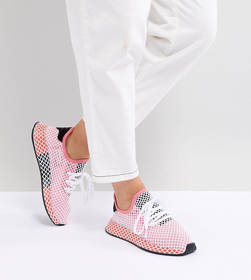 605dd35c7650b Lyst - adidas Originals Deerupt Runner Trainers In Pink And Red in Pink