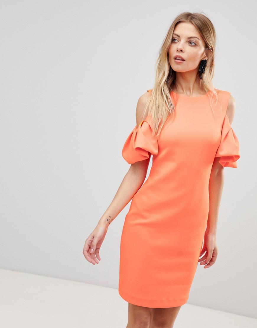 3a1ec76d9fe4f3 Lyst - Ted Baker Extreme Cut Out Shoulder Dress in Orange