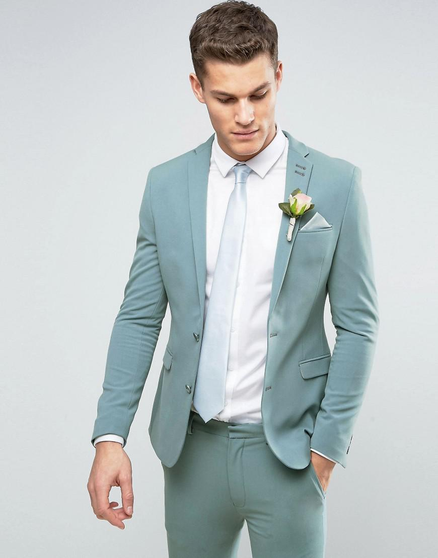 Lyst - Asos Wedding Super Skinny Suit Jacket In Pastel Blue in Green ...