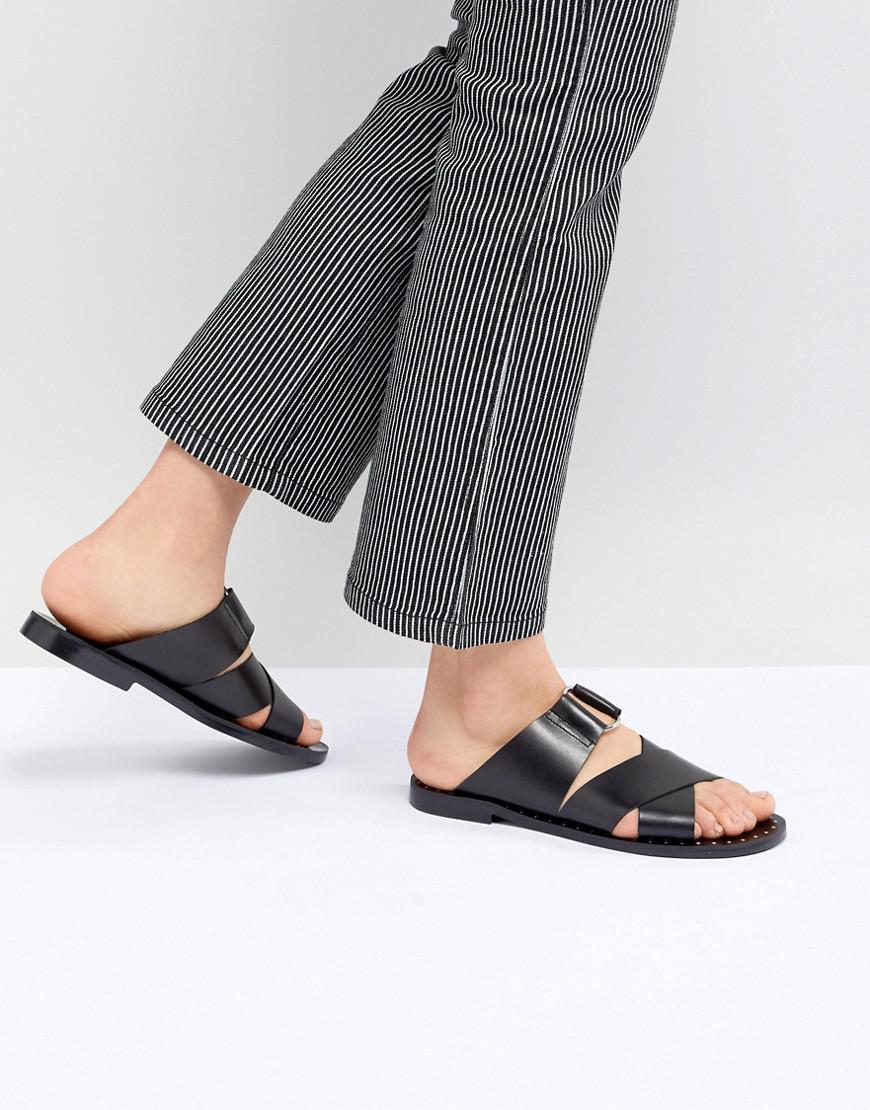 Pull&Bear cross strap flat sandal in black outlet genuine buy cheap supply enjoy shopping free shipping discounts cheap online store Manchester sChaQfW