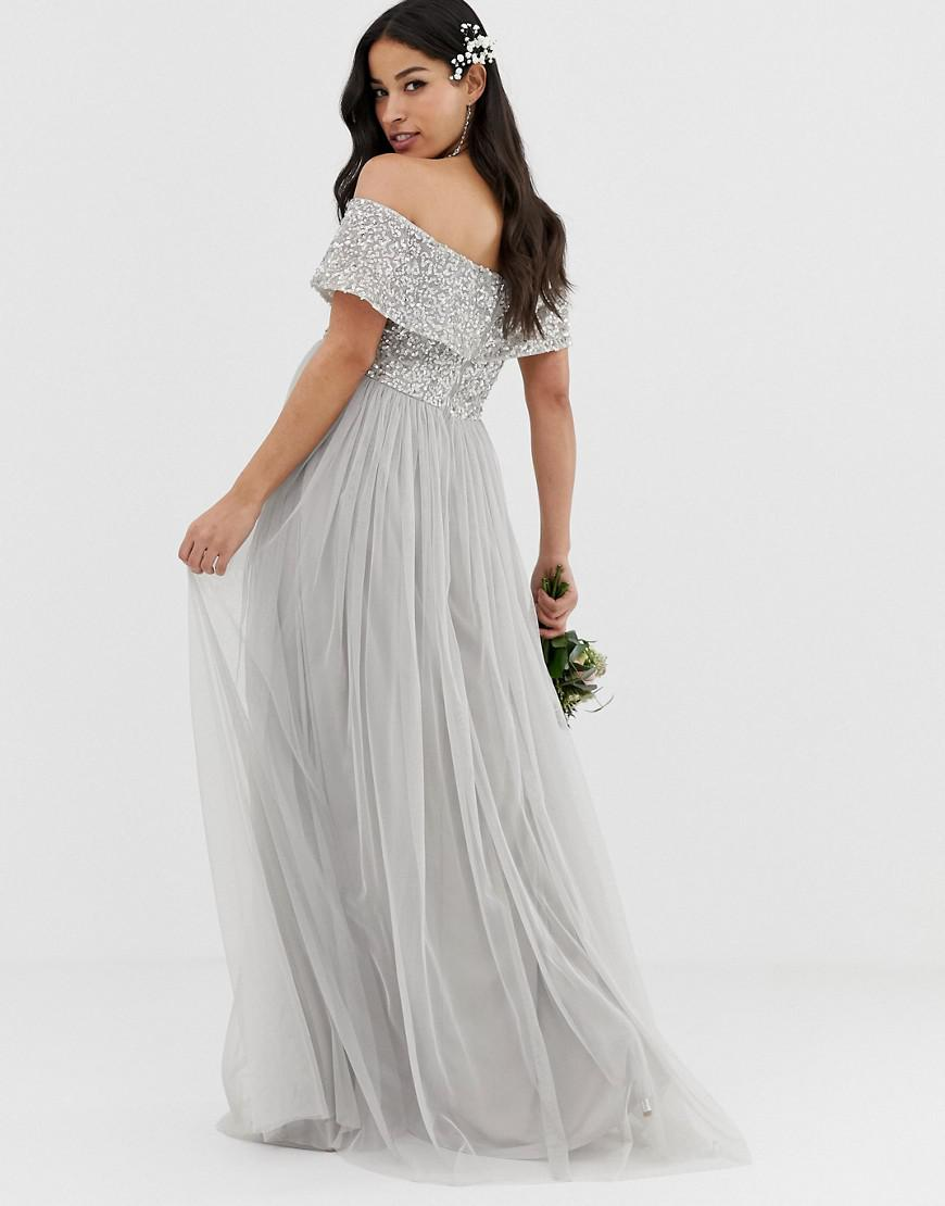 db4dd6e5c Maya Maternity Bridesmaid V Neck Maxi Tulle Dress With Tonal Delicate  Sequins In Soft Grey in Gray - Lyst