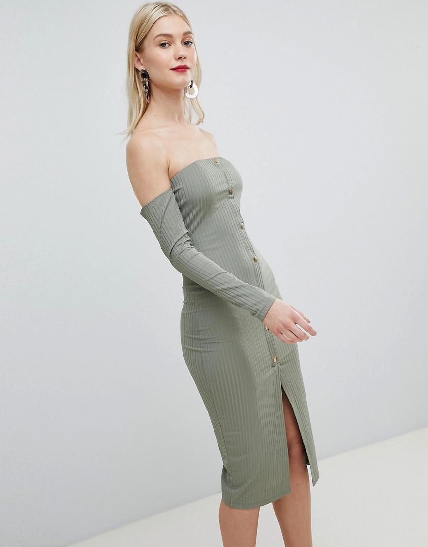 84122802c7 ASOS. Women s Green Bandeau Off Shoulder Bodycon Midi Dress With Popper ...