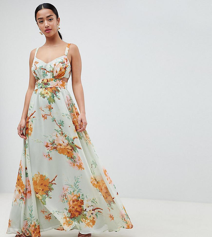 06c51dc9b802 ASOS Maxi Dress With Side Cut Out In Green Floral Print in Green - Lyst