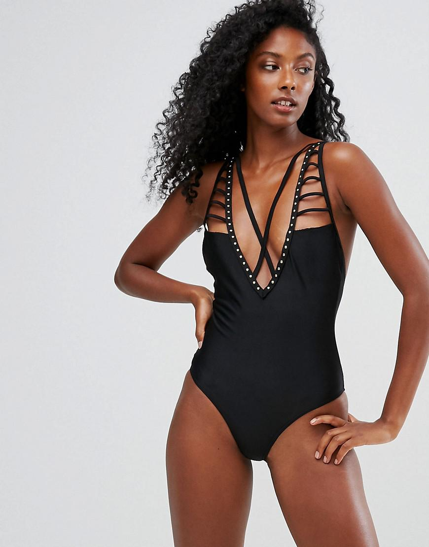 Slash Cut Out Plunge Swimsuit - Black Playful Promises Visa Payment For Sale Discount From China For Sale Cheap Real Outlet Footaction Sexy Sport 3csDUOwjU