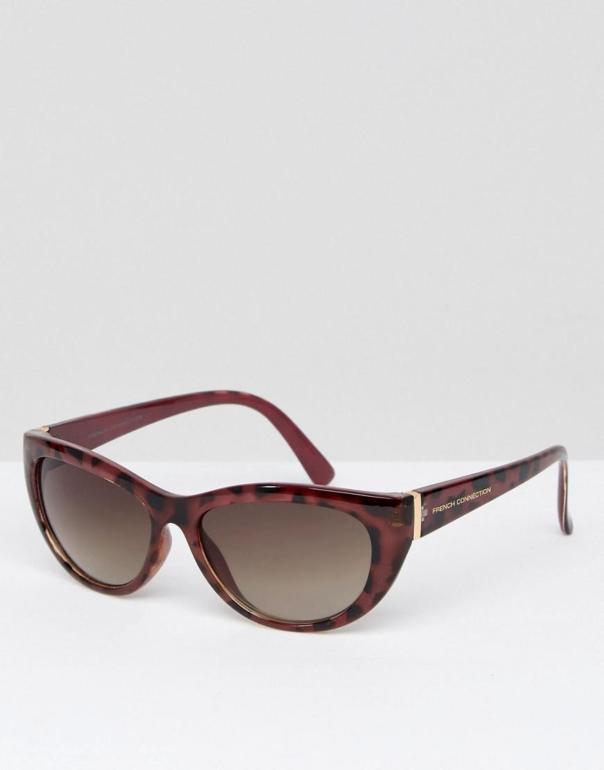 fd6d7f4b7918 Lyst - French Connection Slim Cat Eye Sunglasses in Brown