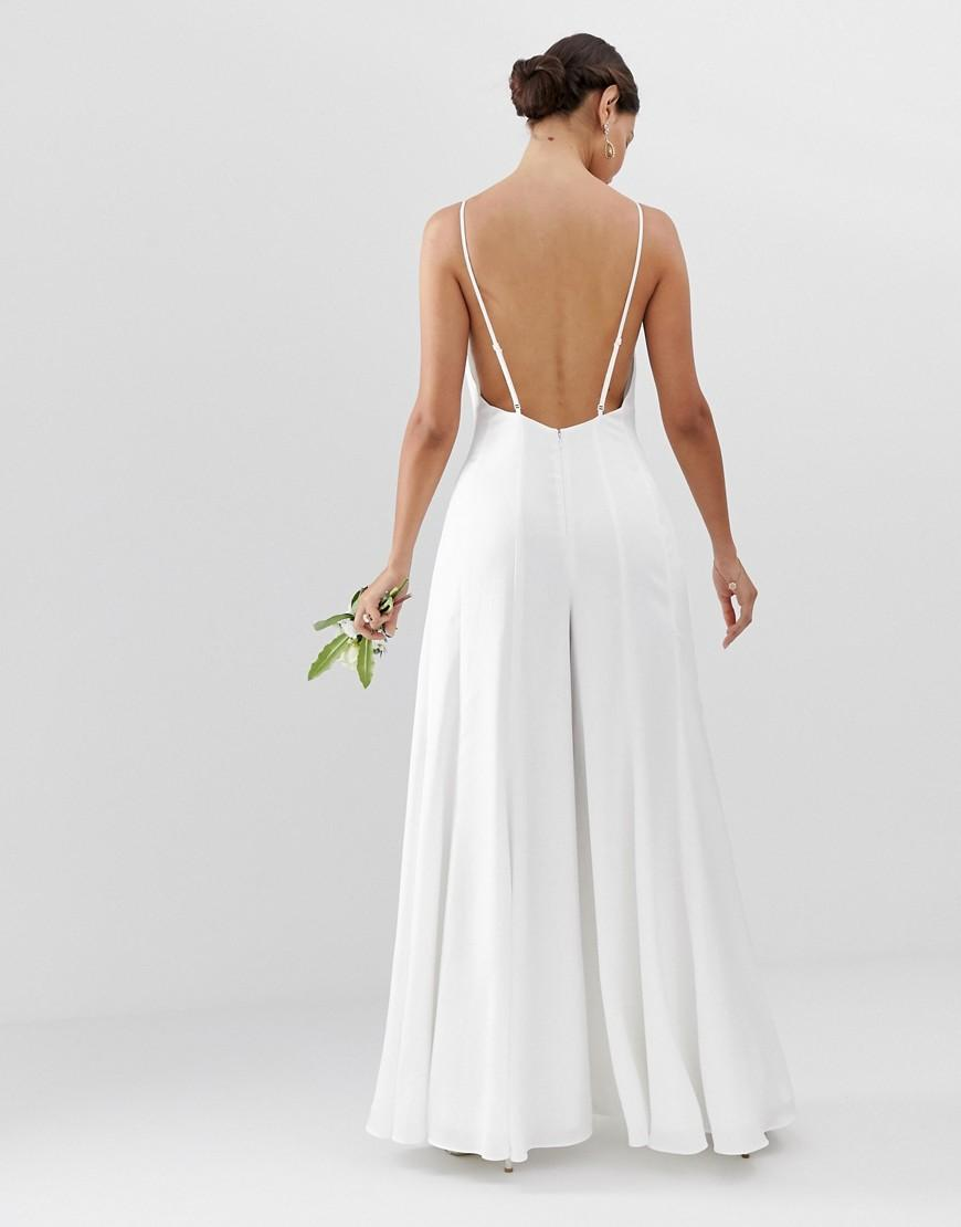 43ef346a6ac ASOS Plunge Cami Wide Leg Wedding Jumpsuit In Satin in White - Lyst