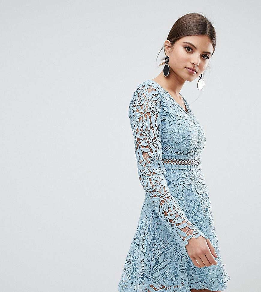 e1a85113fa Lyst - Boohoo Exclusive Crochet Lace Long Sleeve Skater Dress in Blue