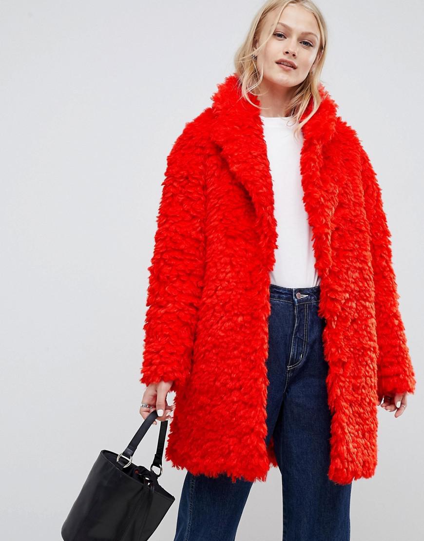 d6a823b7edd Lyst - ASOS Coat In Fluffy Borg in Red