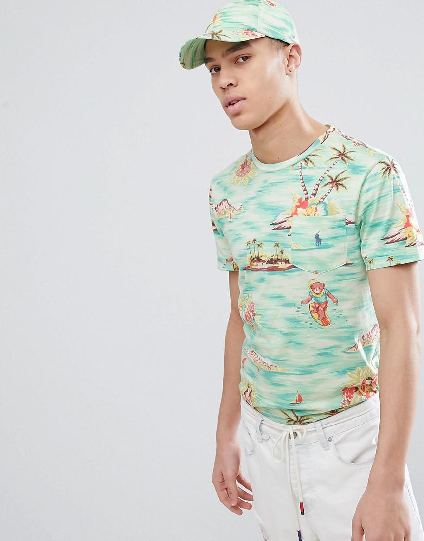 129400de Polo Ralph Lauren - Hawaiian Print T-shirt With Player Logo In Green for Men