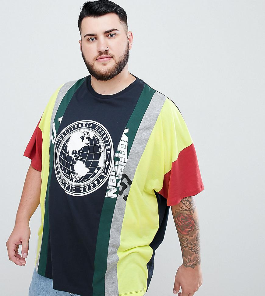 7bfd8981e614 ASOS Plus Oversized T-shirt With Extreme Splice Panels And Text ...