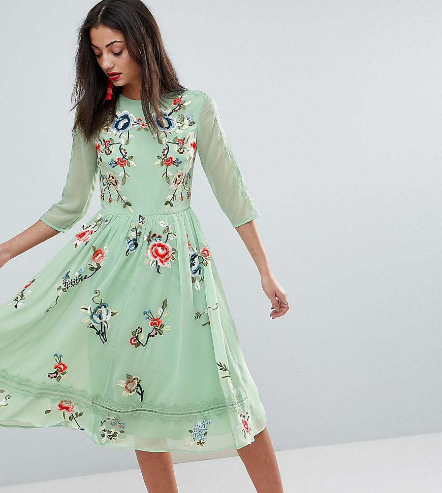 Lyst - ASOS Premium Midi Skater Dress With Floral Embroidery in Green 27703f63b