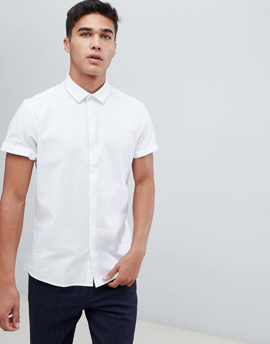 160c06a4804 Lyst - ASOS Formal Slim Oxford Shirt In White With Short Sleeves in ...