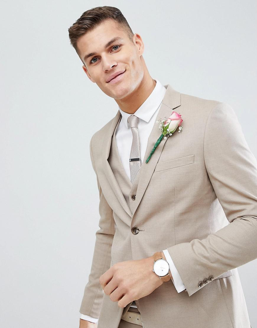 Lyst - Moss Bros Moss London Skinny Wedding Suit Jacket In Latte for Men